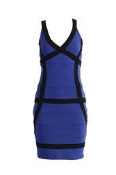 Bodycon V-Neck Contrast Bandage Dress Blue