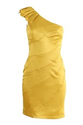 Sweetheart One Shoulder Cocktail Dress Gold