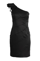 Sweetheart One Shoulder Cocktail Dress Black