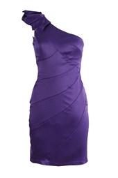 Sweetheart One Shoulder Cocktail Dress Purple