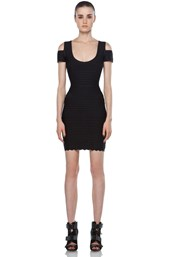Herve Leger Cut Out Bodycon Dress in Black