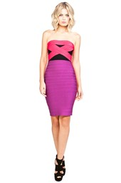 Herve Leger Colorblock Strapless Dress in Bright Rose Combo