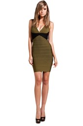 Herve Leger V-Neck Mini in Light Green Tea