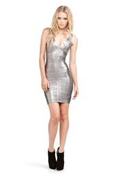 Herve Leger Metallic Mini Dress in Steel