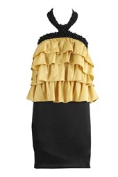 Tiered Cocktail Party Dress Gold