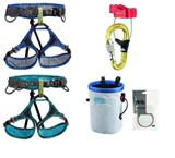 Petzl - Adjama / Luna Climbing Package including Belay device & carabiner (Adjama or Luna harness, Universo Belay, Bandi Chalk bag and 25g Petzl chalk powder)
