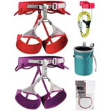 Petzl - Sama / Selena Harness Sport Climbing Package Includes Universo Belay System, Bandi Chalk Bag, 25g Power Crunch Chalk (2013)