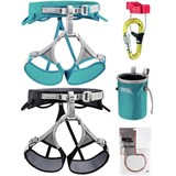 Petzl - Adjama / Luna Harness Climbing Package Includes Universo Belay System, Bandi Chalk Bag, 25g Power Crunch Chalk (2013)