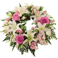 Wreath With White Lilies & Pink Roses, From $100