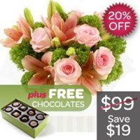 Blush Pinks, Arrangement With Free Chocolates