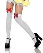 White & Red Thigh Highs with Bow