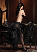 Black Long Tulle Bustle Skirt