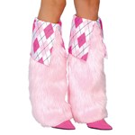Baby Pink & Plaid Fluffy Plaid Leg Warmers