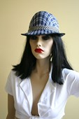 Blue & White Checker Fredora Hat