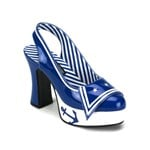 Blue & White Patent Sailor Girl Sling Back Shoe
