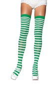 White & Kelly Green Striped Thigh High
