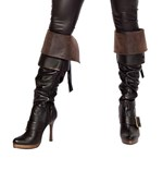 Brown Leather Look Boot Cuffs
