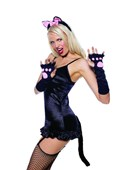 Black Pretty Kitty Gloves, Ears Headband & Tail Kit