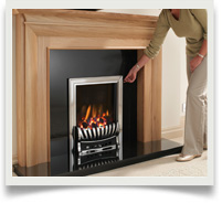 Top and slide control gas fires