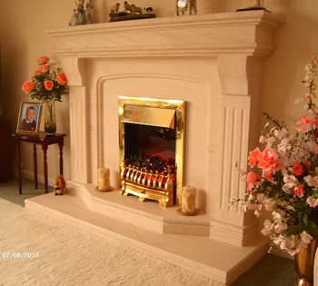 Madrid Limestone Fireplace