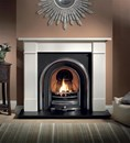 Brompton Agean Limestone fireplace package complete with Jubilee cast and Granite Hearth.