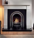 Brompton Agean Limestone Fireplace Package complete with Regal Cast Iron Insert and Granite Hearth.