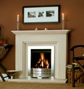 Fireside Katia Limestone Fireplace Package with Axon Modern Slimline Gas Fire.