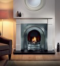 Brompton Agean Limestone Fireplace Package Crown cast insert and Granite Hearth.