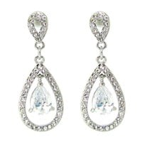 FZE9807 - Diamonte crystal teardrop earrings