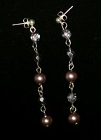 E0205 - Swarovski mauve pearl and czech earrings