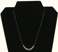 SN044 - Centered clear cubes and round swarovski necklace