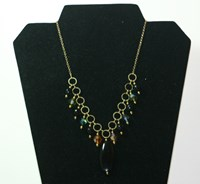 B00275 - Black glass beads with Swarovski crystal necklace