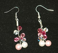 SE0070 - Pink cluster Swarovski earrings