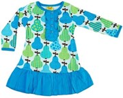 Dress with woven frill - Blue Pear - LAST ONE LEFT, sz 6-7yrs!