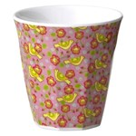 Kids Small Melamine Cup with Pink Bird Print