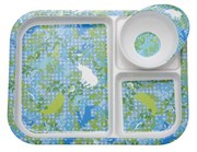 Kids Melamine 3 Room Plate and Bowl with Blue Animal Print