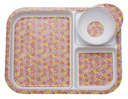 Kids Melamine 3 Room Plate and Bowl with Pink Bird Print