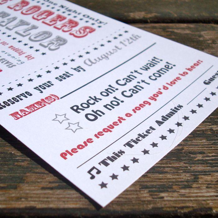 concert ticket wedding invitations fresh paper studios