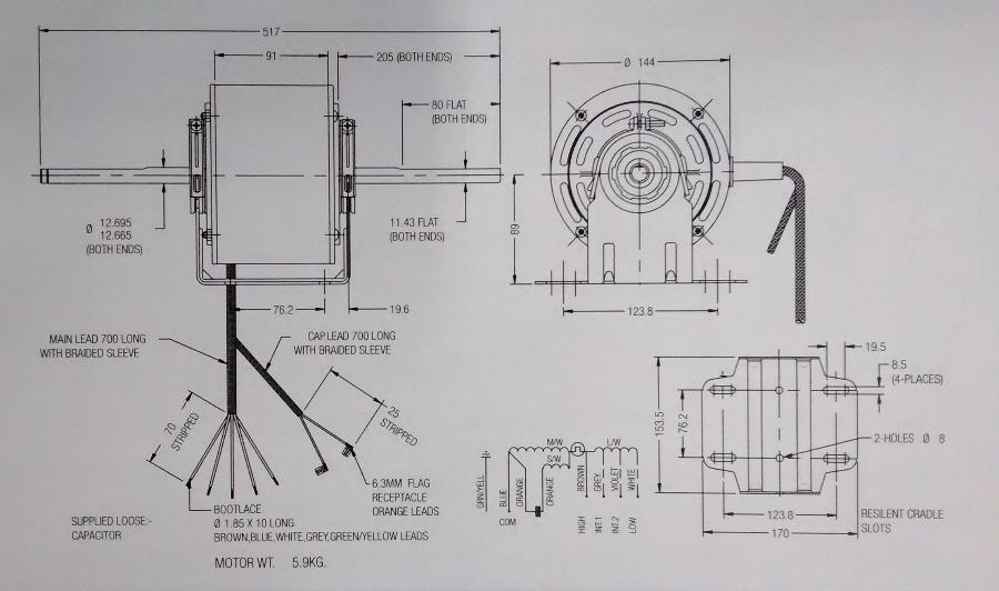 Fasco 8061S019-80 - WA Rewind Fasco Double Shafted Scroll Fan Motor ...