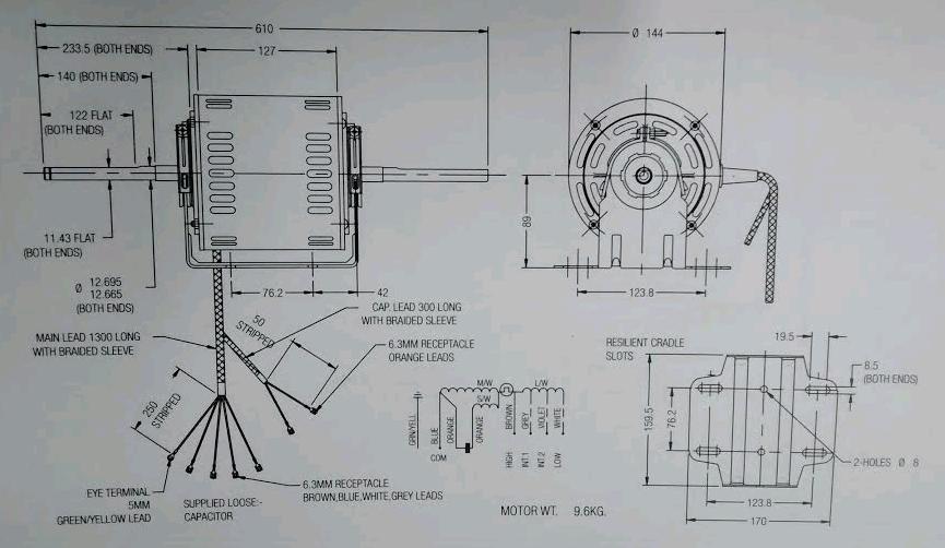 Fasco 8061S082-80 - WA Rewind Fasco Double Shafted Scroll Fan Motor ...