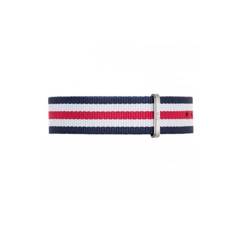 DANIEL WELLINGTON®<br/>Classic Canterbury 20mm Male Silver Red White Blue NATO Strap