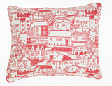 Houses Red Cushion 50cm x 40cm
