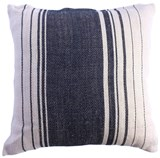 Jute Sugarbag Stripe Cushion Navy