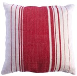Jute Sugarbag Stripe Cushion Red