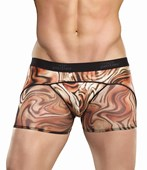Brown Animal Print Panel Shorts