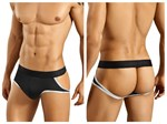 Mens Black Jockstrap with Metallic Bias