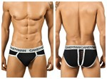 Black & Silver Lace Up Back Brief