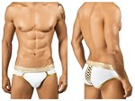 White & Gold Lace Up Back Brief