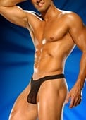 Mens Black Sheer Streaker Thong