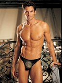 Mens Black Spandex Studded Dollar Sign Thong